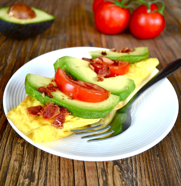 Bacon, Avocado, & Raw Cheddar Omelet