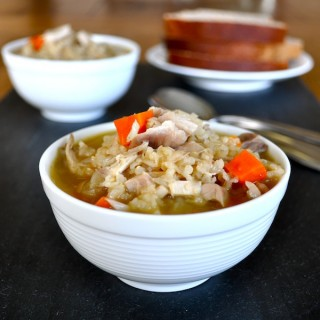 Soaked Brown Rice, Chicken, & Veggie Soup