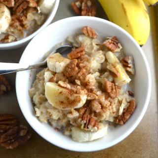 Banana, Pecan, Cinnamon Oatmeal. Soak your oatmeal overnight for better digestion, nutrient absorption, and a quicker cook time in the morning. This combo is so good even the oatmeal haters might change their minds! | twothirdscup.com