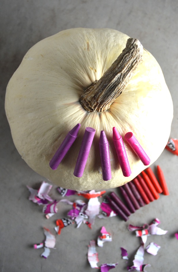 colored crayon pumpkin