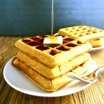 Sprouted Wheat Pumpkin Spice Waffles - A family favorite. We eat these all the time. This recipe adds a hint of fall flavor to already delicious and healthy waffles. There's no refined flour or refined sugar in this breakfast. | twothirdscup.com