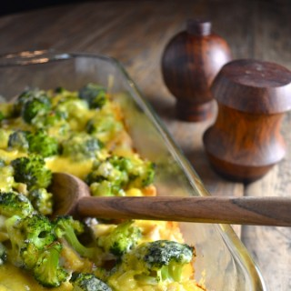 This chicken and broccoli casserole is made from scratch. No need for canned soup. It's healthy and delicious! | twothirdscup.com