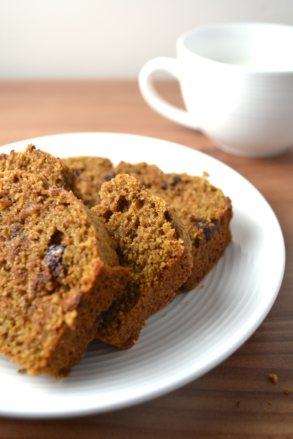 Sprouted Wheat Pumpkin Chocolate Chip Bread - this recipe has no refined flour and no refined sugar. It's moist and so delicious! | twothirdscup.com
