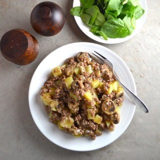 Beef and Mushroom Gravy - Served over potatoes is an easy, hearty, healthy meal. Made from scratch with no processed ingredients. | twothirdscup.com