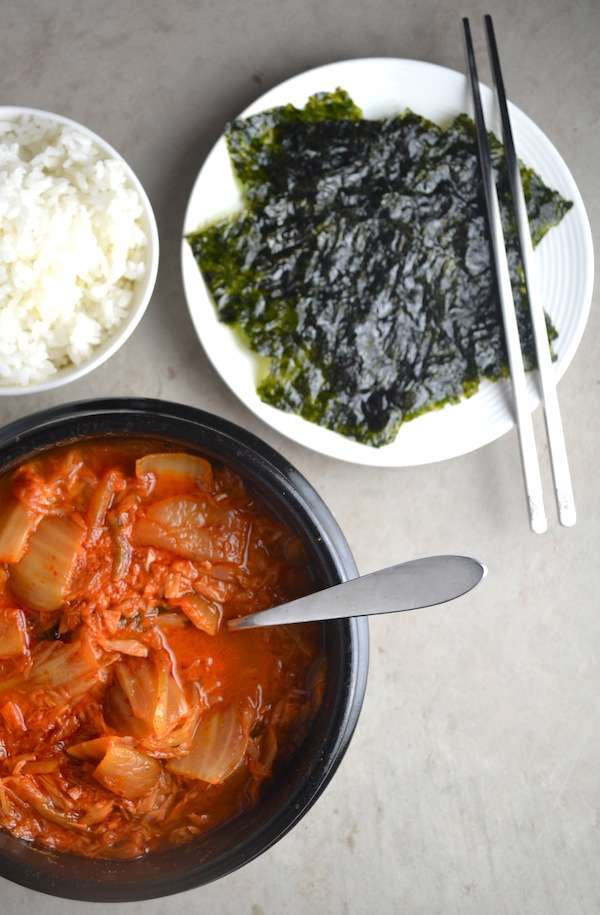 Easy Kimchi Tuna Soup - A simple version of the traditional Korean dish. Full of healthy probiotics and so delicious. | twothirdscup.com
