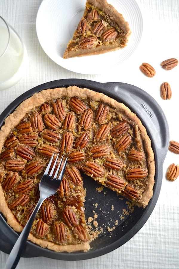 Maple Pecan Pie - A healthier version of pecan pie. This recipe has no corn syrup or refined sugar. It's a crowd pleaser! | twothirdscup.com