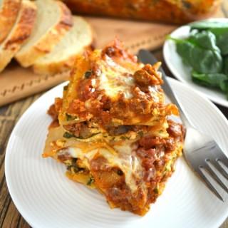 Beef, Spinach, & Mushroom Lasagna